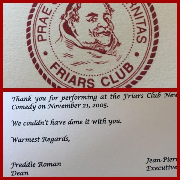 Friar's Roast thank you card