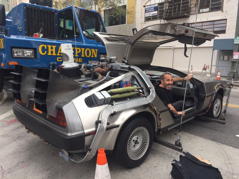 Back to the Future Delorean on the crane to fly through down town LA for AT&T commercial