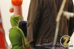 Jason Segel on the Muppet Movie set