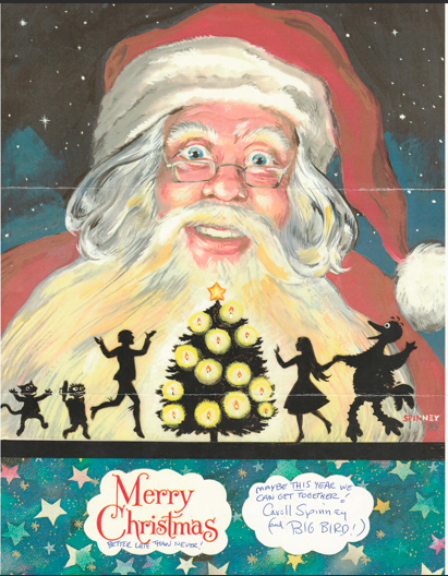 Hand painted Xmas Card from Caroll Spinney