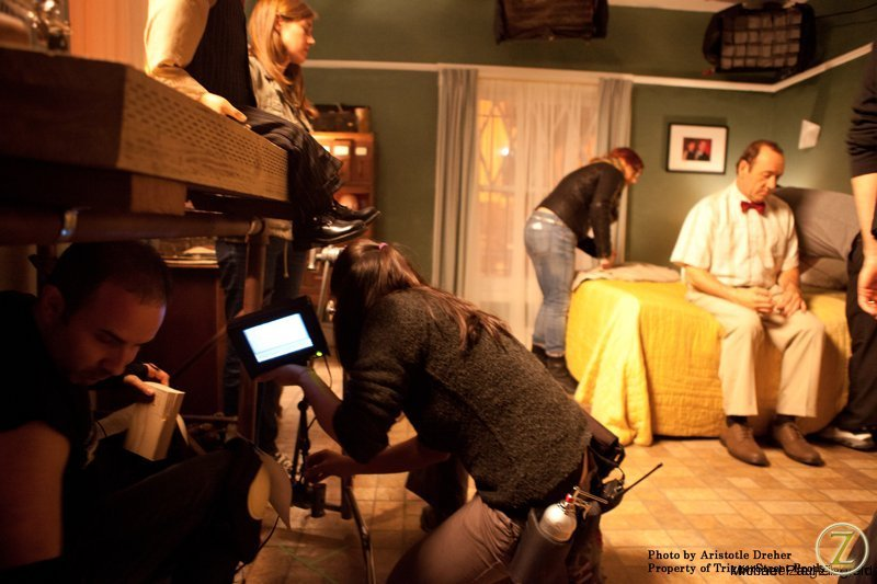 Setting monitors for a scene with Kevin Spacey