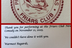Friar's thank you